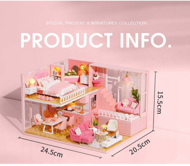this image is of the pink dollshouse. it shows the contents of the house.