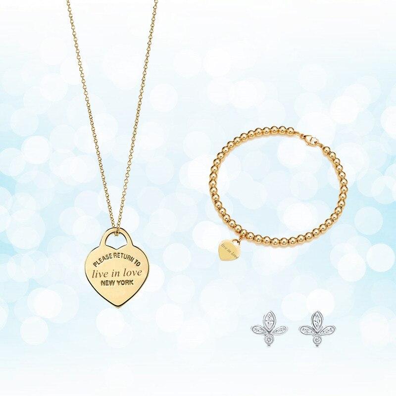 Argent Sterling 925 classique populaire simple élégant original mode or en forme de coeur charme dames collier ensemble ornement