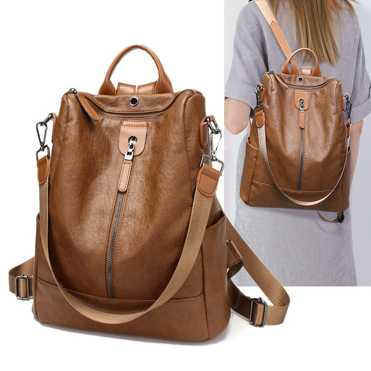 Shoulder Bag Fashion Women Backpack Bag Real Leather Multifunctional Backpack Travel Diaper Bag With Earphone Hole