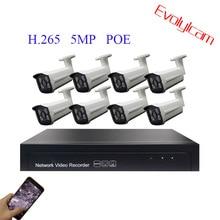 Evolylcam 4CH 8CH 5MP POE kiti H.265 sistemi CCTV güvenlik NVR P2P Onvif POE açık su geçirmez ip kamera POE Video gözetim