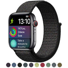 Bucle deportivo para apple watch series 4 3 2 1 correa reflectante para iwatch 1 2 3 4 38mm 42mm 40mm 44mm tejido de nylon transpirable(China)