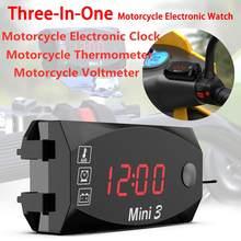 DC 12V Display a LED voltmetro digitale pannello Volt voltmetro orologio elettronico termometro per moto elettromobile