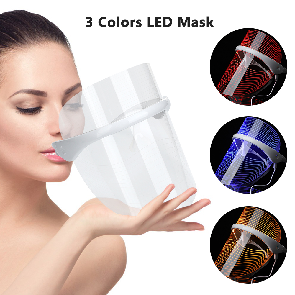 Rechargeable 3 Colors LED Photon Light Therapy Facial Mask Skin Tighten Photonic Lighten Melanin Whitening Anti-Aging Skin Care