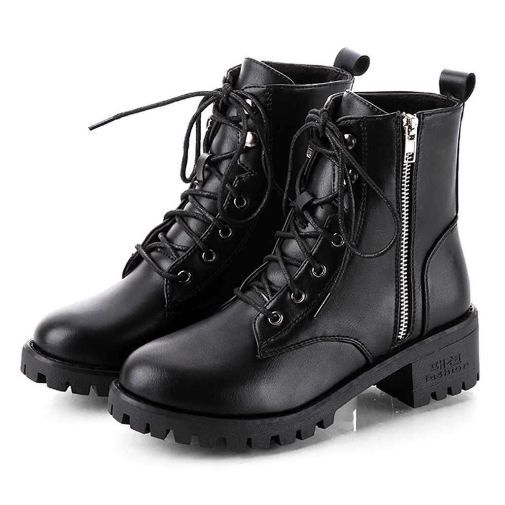Botas de moto para mujer botas de Otoño de combate Vintage Punk Goth para mujer botas cortas de cuero PU para mujer