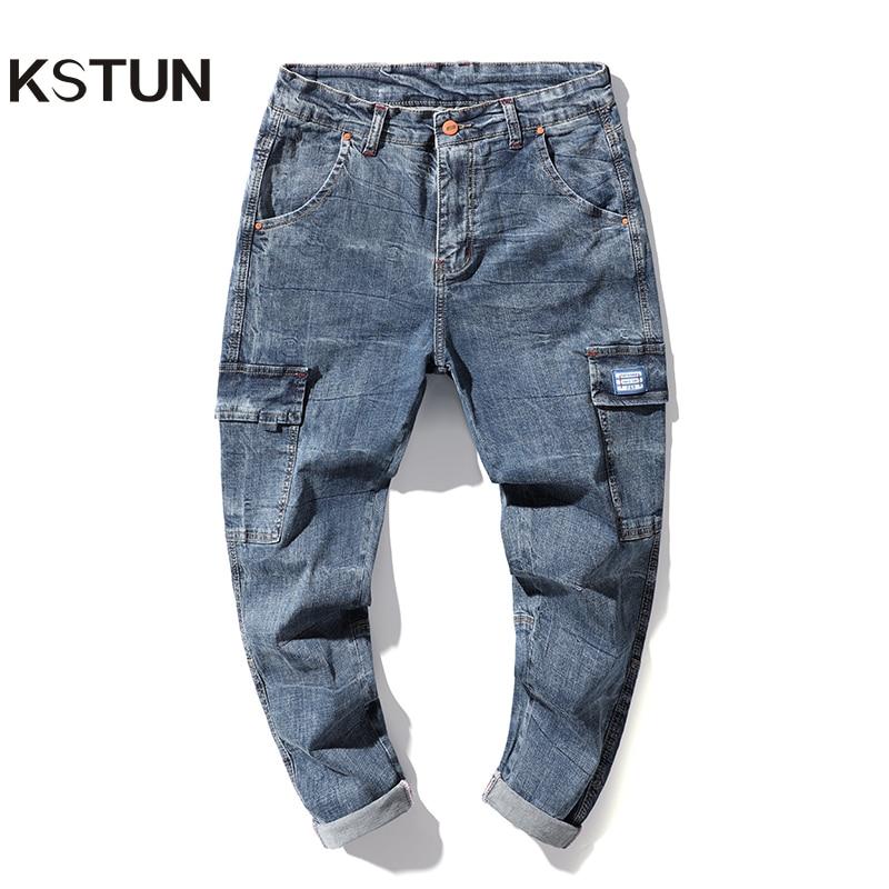 Harem Jeans Men Cargo Pants Spring And Summer Stretch Light Blue Loose Fit Multi-Pockets Casaul Denim Pants Soft Plus Size 42 40