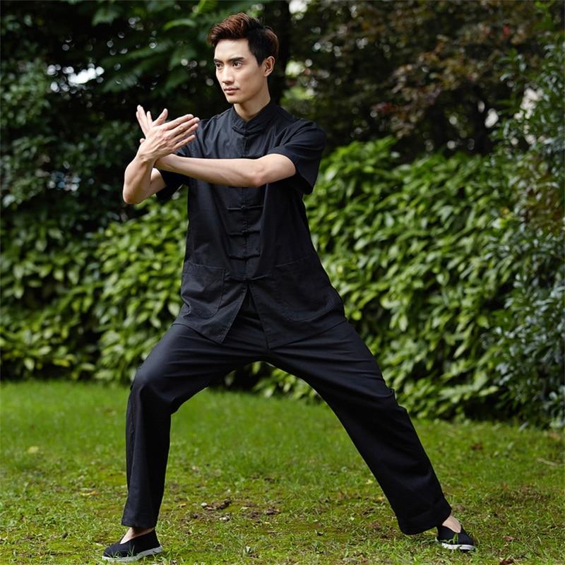 Remise noir chinois hommes Tai Chi uniforme traditionnel lin Kung fu costume à manches courtes vêtements SizeM L XL XXL XXXL