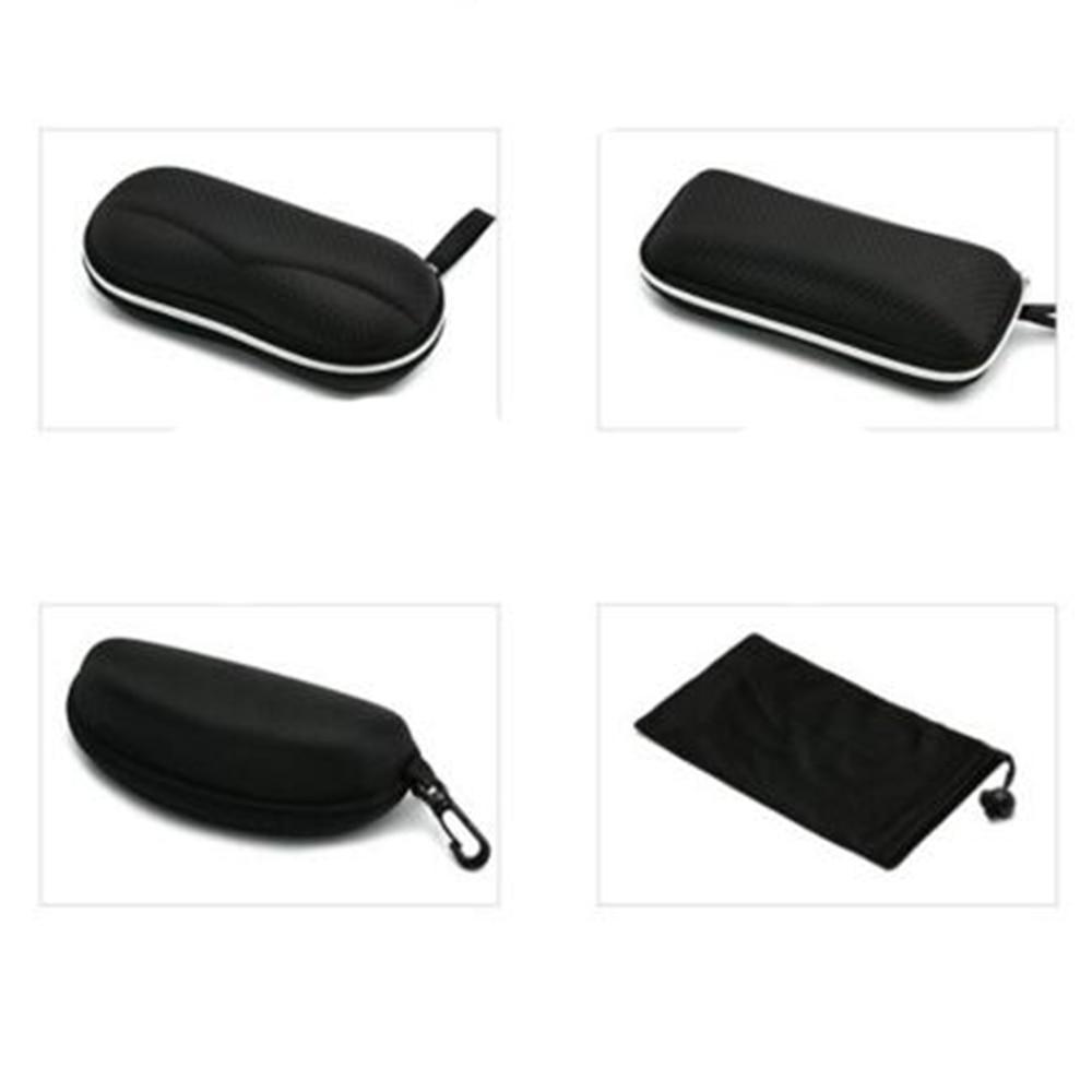 Black Portable Hard Zipper Case Box Eye Glasses Sunglass Bag w Carabiner Hook