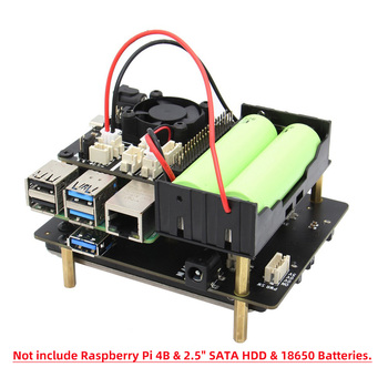 2.5 inch SATA HDD/SSD X825 V1.5 Shield, Storage Expansion Board with Metal Case + X708 UPS Board for Raspberry Pi 4B