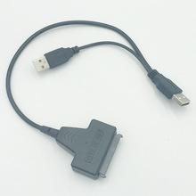 Przenośny USB2 0 do Adapter SATA kabel 2 5 cal dysk twardy kable 3 5 cal 7 + 15 kabel adaptera dysku twardego do dysku twardego SSD twardy laptopa tanie tanio Noocuxuekon CN (pochodzenie) Sata kable Zdjęcie C558 With USB Power Support Dual USB 2 0 Black USB 2 0 to 22 Pin SATA Cable