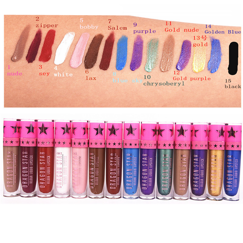 NEW Brand Dragon Stars Matte Lip Gloss Makeup Tint Liquid Matte Lipstick Velvet waterproof long lasting Beverly Hill lip kit 2