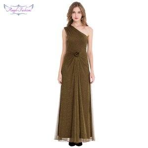 Image 1 - エンジェルファッションワンショルダープリーツシャーリングスパンコールスリットロングイブニングドレス 350 429