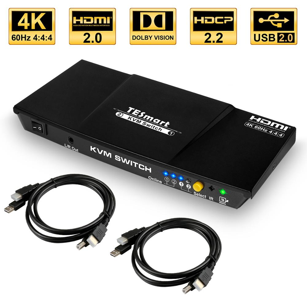 KVM Switch HDMI 2 Ports USB2.0 KVM HDMI Switch 4K@60Hz With 2 Pcs 5ft KVM Cables Switcher Support USB 2.0 Device Control 2PC
