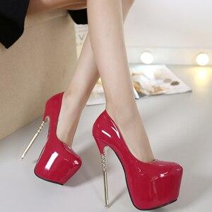 16CM Patent Leather Stilettos Metal High Heels Womens Shoes Pumps Platform Sexy Round Toe Nightclub 4Colors C361