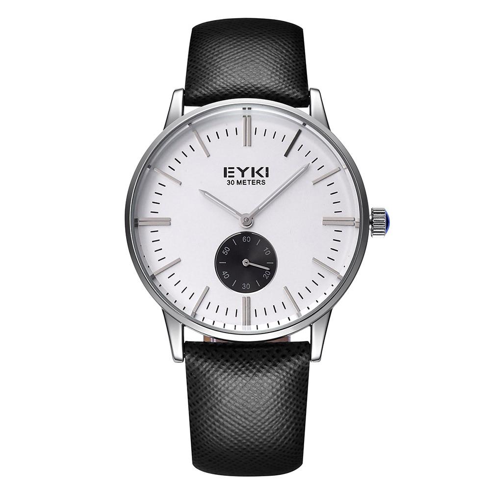 Men Brand EYKI Watches 30m waterproof leather women & Men's Watch Business Casual Fashion Quartz Watches montre homme