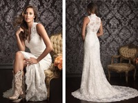 Hot sale free shipping new 2018 Bridal Gown v neck romantic fashionable long vestido de noiva lace mother of the bride dresses
