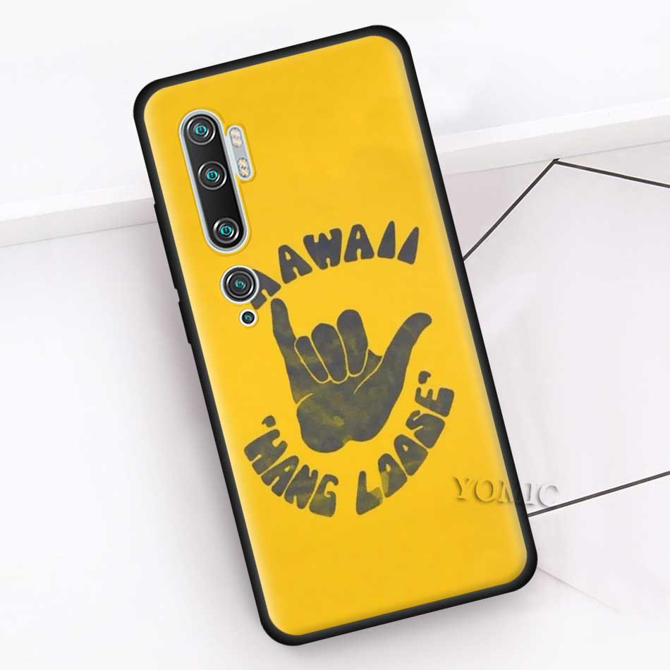 Black Case For Xiaomi Mi Note 10 9 SE 9T CC9 Pro 5G A3 A2 8 Lite Poco X2 Soft Silicone Phone Cover Surfer Surf Hang Loose Shaka