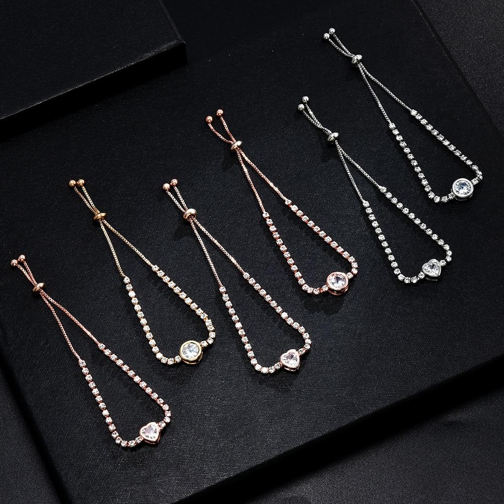 Heart Round Bracelet Simple Cute Crystal Chain Bracelet Women Charm Sweet Jewelry 4