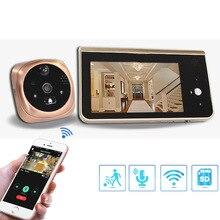 비디오 틈 구멍 와이파이 초인종 카메라 4.3 인치 모니터 모션 감지 도어 뷰어 비디오 아이 무선 스마트 링 인터폰
