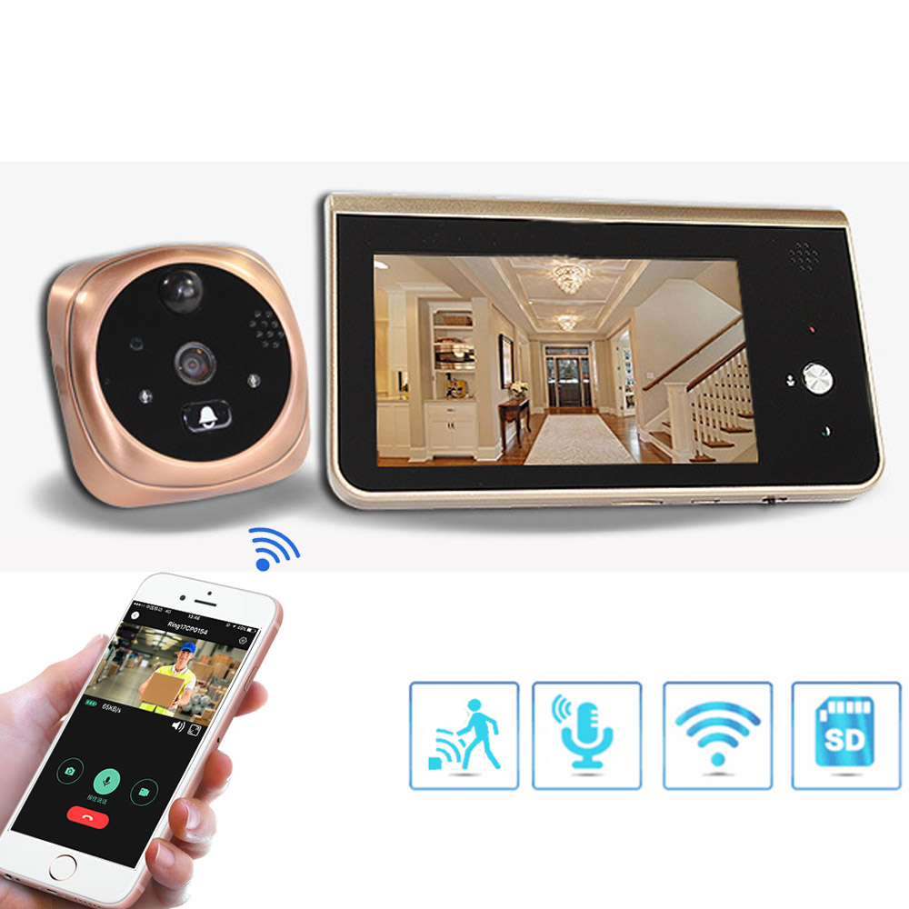 Video Peephole Wifi Doorbell Camera 4.3 Inch Monitor Motion Detection Door Viewer Video-eye Wireless Smart Ring Intercom