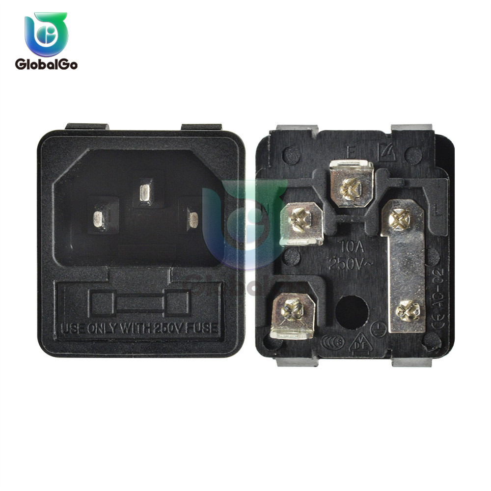 5pcs/Lot AC-02 10A 250V AC Power Socket- Iron Core With Fuse Interface 3 Holes AC Universal Charging Convertor Plug Socket