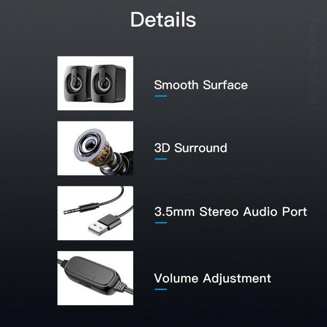 Computer Speakers Stereo Home Cinema Sound Box Subwoofer Loudspeaker for PC Laptop Notebook Soundbar Not Bluetooth Speaker 6