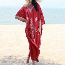 Кафтан с вышивкой, Пляжная туника, хлопковая Пляжная накидка, купальный костюм Praia, женское бикини, накидка, парео, саронг, пляжная одежда# Q854