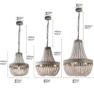 Image 2 - מדינה אמריקנית סגנון רטרו תליית סיד לבן עץ חרוזים תליון מנורת LED אורות E27 AC 110V 220V עבור חדר שינה סלון