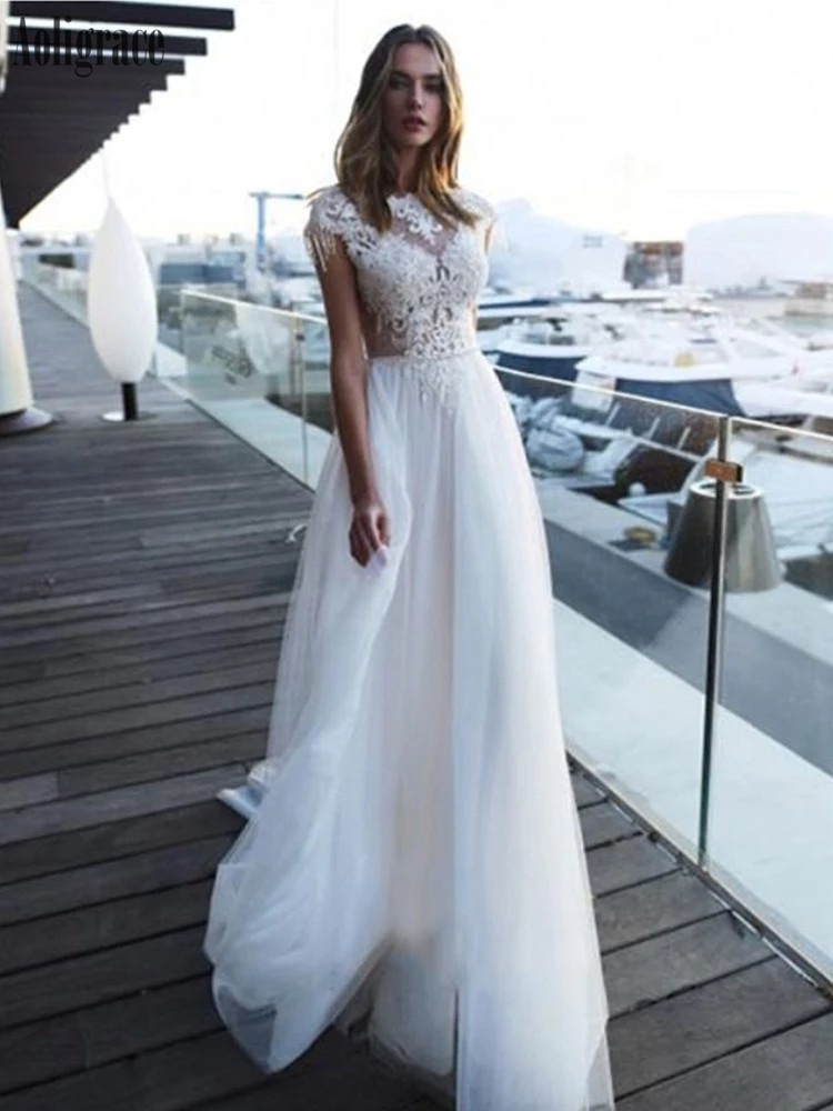 Bohemain Lace Wedding Dresses Backless Appliques A Line Sweep Train Garden Beach Bridal Gowns Gorgeous Country Vestidoe De Noiva