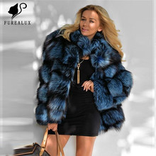 Real Silver Fox Fur Lapel Collar Slim Coat New Design Autumn Winter Thicken Women Overcoat High Quality Female Outerwear Jacket
