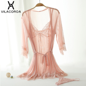 Image 5 - סקסי תחרה רשת חלוק סט נשים שקוף הלבשת Robe + Camis + תחתוני 3 חתיכה סטי טרקלין סט femme hiver בית שמלה