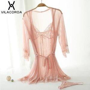 Image 5 - Sexy Kant Mesh Badjas Set Vrouwen Transparant Nachtkleding Robe + Camis + Slipje 3 Stuk Sets Lounge Set Femme Hiver thuis Jurk
