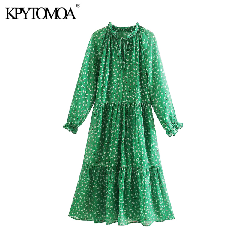 KPYTOMOA Women 2020 Chic Fashion Floral Print Pleated Midi Dress Vintage Tie Neck Long Sleeve Female Dresses Vestidos Mujer