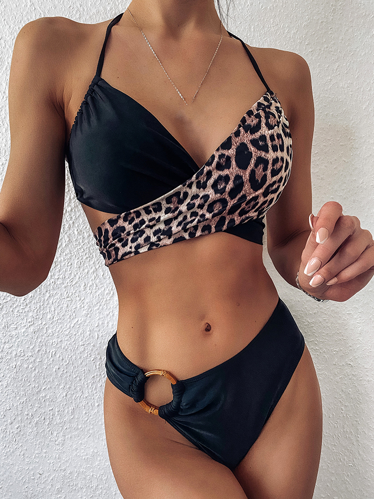 Riseado Swimsuits Women Bikinis-Set Bandage Beach-Wear Push-Up Leopard Cross Sexy HALTER