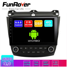 FUNROVER 2.5D android 9,0 car radio gps reproductor de dvd para Honda Accord 7 2003-2007 dvd del coche de navegación multimedia 2G RAM 32 ROM RDS(China)