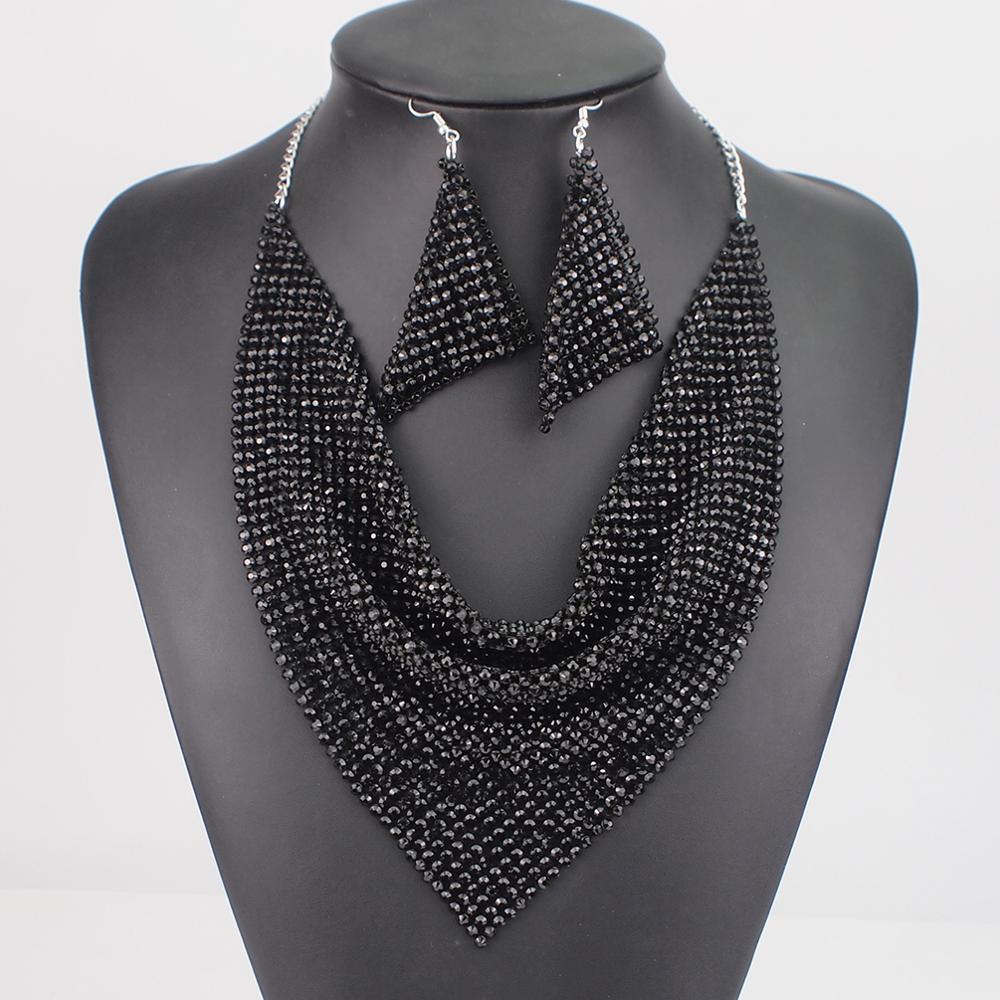 MANILAI Indian Jewelry Set Shining Rhinestone Metal Slice Bib Choker Necklaces Earrings Party Wedding Fashion Jewelry Sets 2020