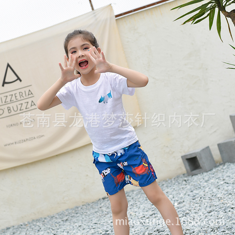 Beach Shorts Man Crawler Quick-Dry Dog Pattern Seaside Holiday Loose Couple Clothes Shorts Parent And Child Swimming Trunks