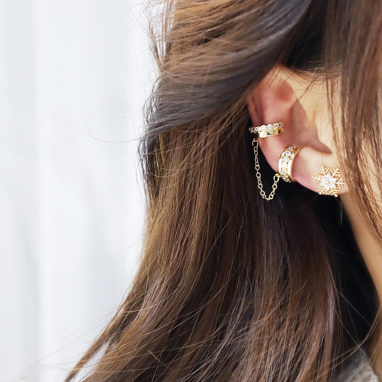Earring For Women 14K Real Gold Frosty Sub-Chain Stacking Ear Bone Clip European Net Red Design Trendy Cool Ear Bone Ear Clip