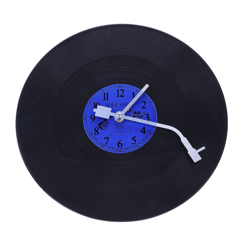 Quartz Round Retro Wall Clock Art Design Kitchen Living Room Home Decoration Vinyl Record Clock Blue + Black Plastic