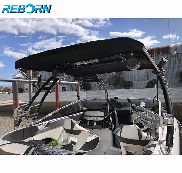 Reborn Pro3 Foldable Boat Wakeboard Tower Bimini Top Black Canopy- 1900v