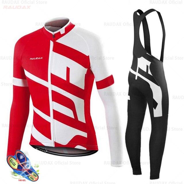 Primavera 2020 pro equipe raudax camisa de ciclismo outono mtb ciclismo roupas verão manga longa triathlon mountain bike bib pant conjunto 2