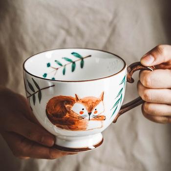 Styl skandynawski Retro ręcznie malowany ceramiczny kubek do kawy filiżanka do domu śniadanie kubek na mleko filiżanki do kawy kubek ręcznie malowane zwierzę kubek wody tanie i dobre opinie DEUAMO CN (pochodzenie) Porcelany kubki do kawy cartoon Bez elementów Uchwyt CE UE Lfgb Mugs coffee mugs Ekologiczne Na stanie