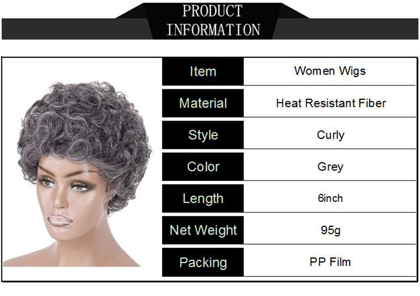 Image 5 - Gray Hair Wig for the Black Women Short Curly Wig for the Aged Female High Temperature Fiber Synthetic Hair 6inchSynthetic None-Lace  Wigs   -