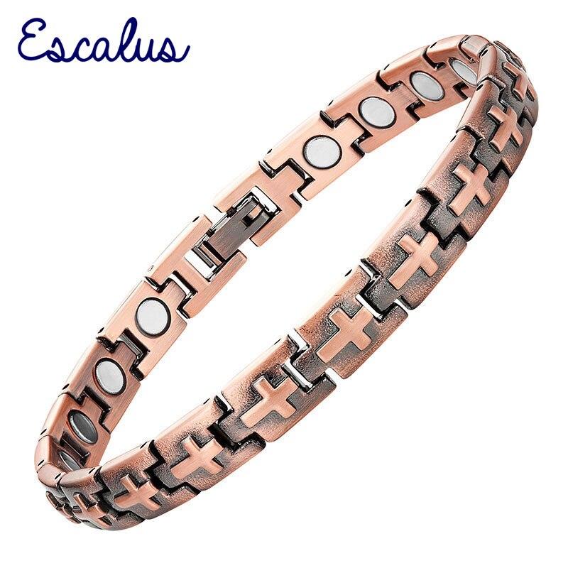 Escalus Magnets Gift Jewelry Bracelet For Women Copper Plating Healing Magnetic Men Bracelets Cross Shape Bangle Wristband Charm