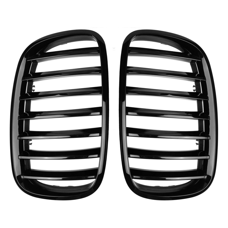 Car Gloss Black Front Bumper Intake Kidney Grills Grille For BMW E70 E71 X5 X6 2007-2013