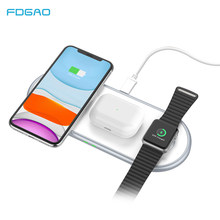 FDGAO 3 in 1 Wireless Charger for Airpods Pro Apple Watch 5 4 3 2 1 iWatch 10W Qi Fast Charging Pad for iPhone 11 XS XR X 8 Plus(China)