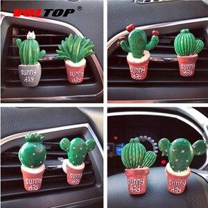 Image 1 - Sukkulenten Kaktus Auto Dashboard Dekoration Air Outlet Parfüm Clip Ornamente Auto Zubehör Innen Hängenden Anhänger