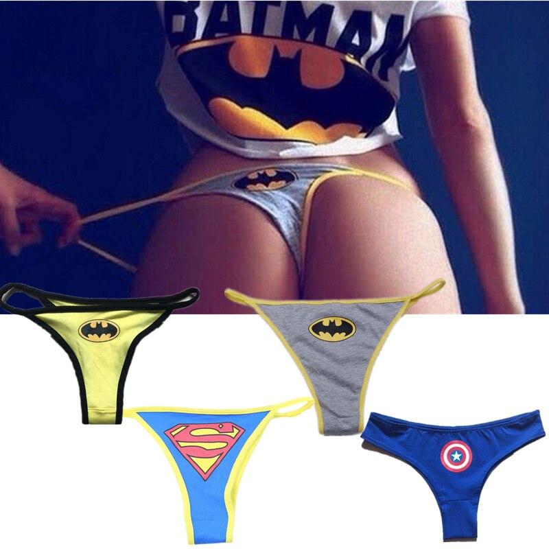Sexy femmes super-héros Batman Captain America Superman dessin animé sous-vêtements string culotte Lingerie