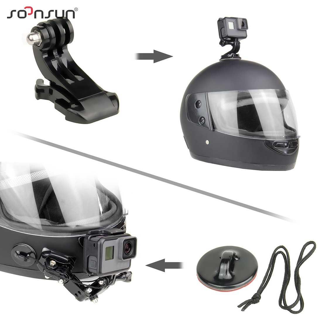 SOONSUN-casco con hebilla en forma de J, montaje adhesivo para GoPro Hero 8 7 6 5 4, para DJI Osmo Action, conjunto de accesorios