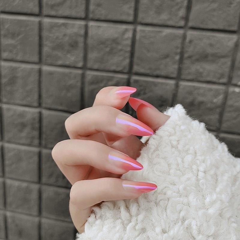 wearable unhas falsas com cola cor rosa
