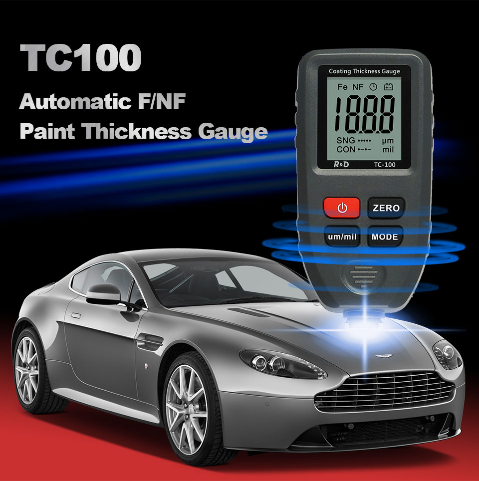 Digital Coating Thickness Measurement Gauge 0.1micron/0-1300 TC100